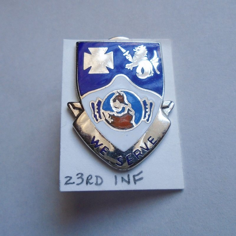 23rd U.S. Army Infantry DUI insignia pin. Has
