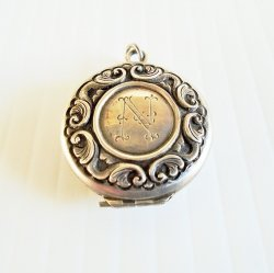 Mourning Locket with Hair, Vintage, Late 1800s, Initial N