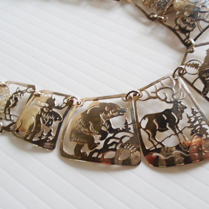Wild Bryde North American Mammals necklace. 17 panels, each with a different mammal. Laser cut and etched.