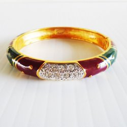 Joan Rivers Enamel Multi Color Rhinestone Bangle Bracelet