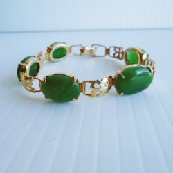 Chrysoprase Link Bracelet, Goldtone, 7 inch