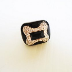 Dog Bone Shaped Enamel Rhinestone Cocktail Ring, SZ9, Macy's
