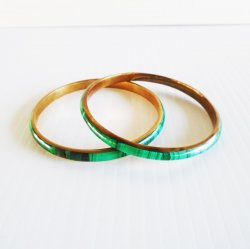 Malachite on Brass Bangle Bracelets, Set of 2