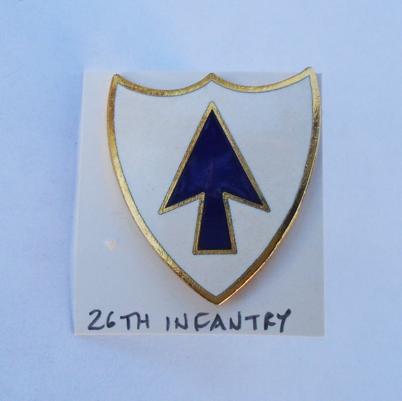 26th U.S. Army Infantry DUI Insignia Pin. Probable WWII timeframe. Made in Germany.