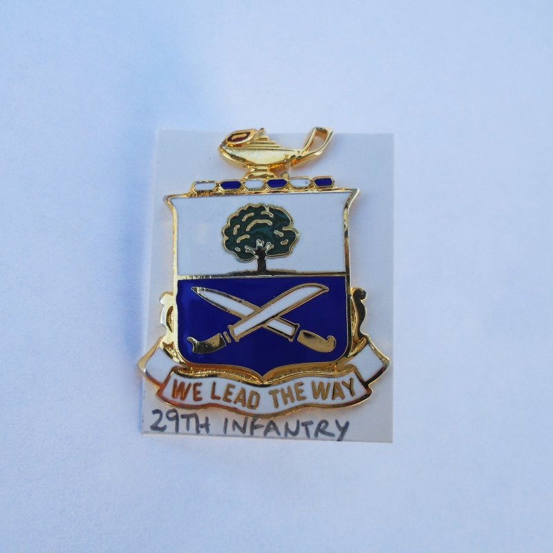 29th U.S. Army Infantry DUI Insignia Pin. Has motto of