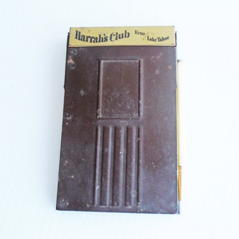 Harrah's Club Reno Lake Tahoe Vintage c1950s bronze metal flip top note pad with pad and pencil.