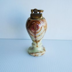 Brown Marbled Table Lighter, 6 inch tall, 1960s Japan