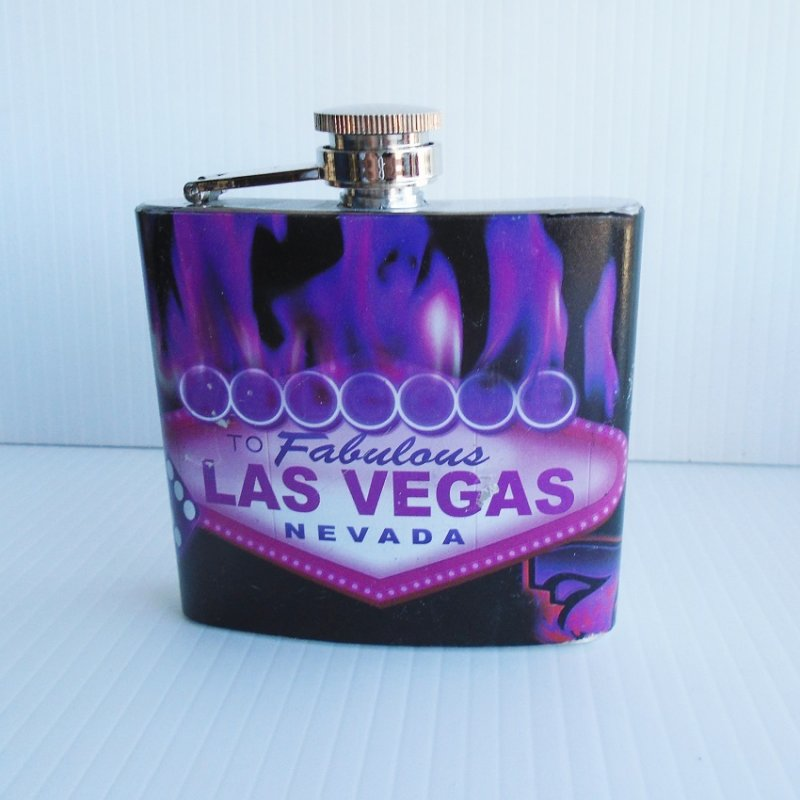 Fabulous Las Vegas purple flask. Pocket or purse size. 5 oz. Never opened or used. Estate purchase.
