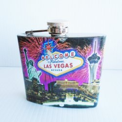 Fabulous Las Vegas Flask featuring various casinos