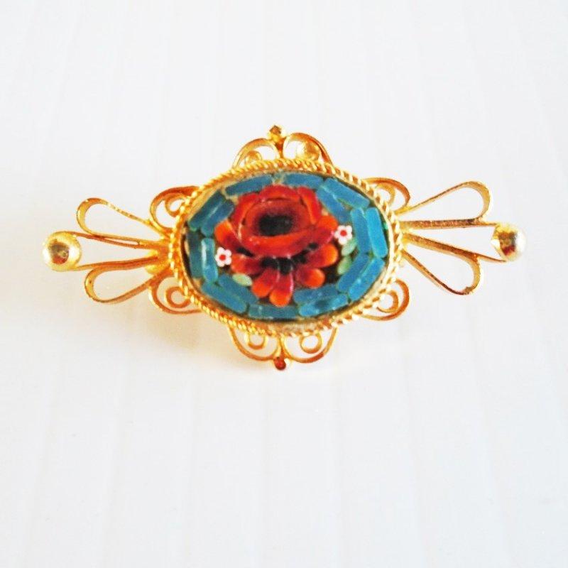 Mosaic Rose Pin Brooch, Marked