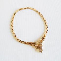 Panetta Choker Necklace, Rhinestones, Gold Tone, 1970s