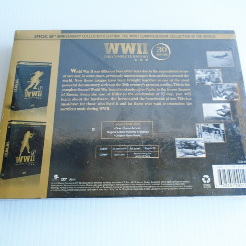 WWII, The Complete History. 10 DVD set, 30 hours. Unopened and sealed. Special 66th anniversary set
