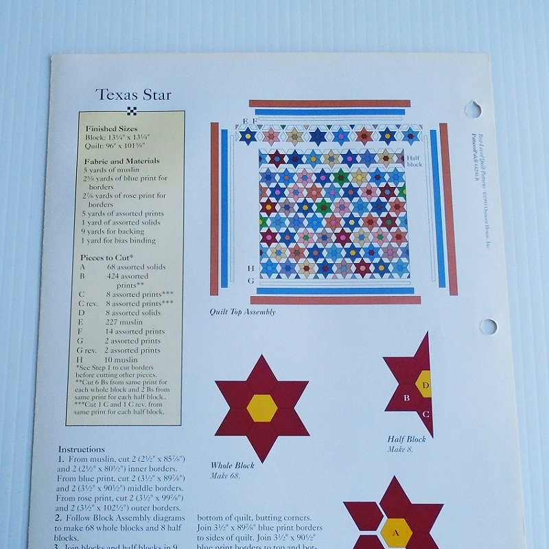 Texas Star quilt pattern for a 96 by 101.3 inch quilt. Actual size templates included. From Best Loved Quilt Patterns Series.