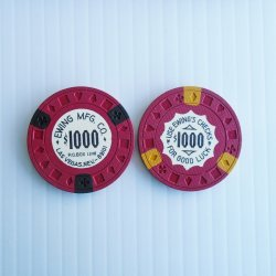 '.$1000 Poker Chips, Ewing Mfg .'