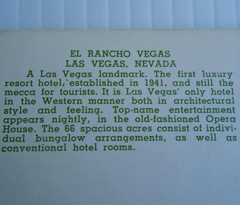 Vintage circa 1956 postcard of the El Rancho Hotel Casino Las Vegas Nevada. Postally unused.