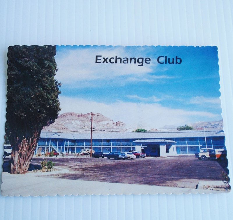 Vintage circa 1960s to 1970s postcard of the Exchange Club Motel Casino in Beatty Nevada. Postally unused.