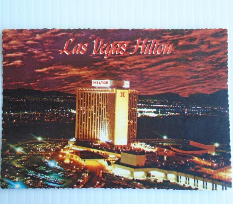 Vintage 1960s aerial view postcard of the Las Vegas Hilton hotel casino.