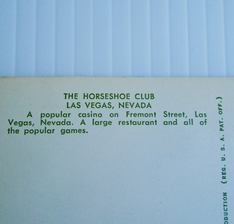 Vintage 1950s postcard of the Horseshoe Club Hotel Casino in downtown Las Vegas.