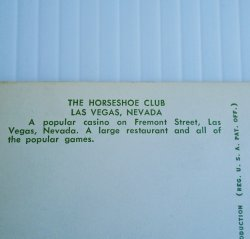 '.Horseshoe Club Las Vegas 1950s.'
