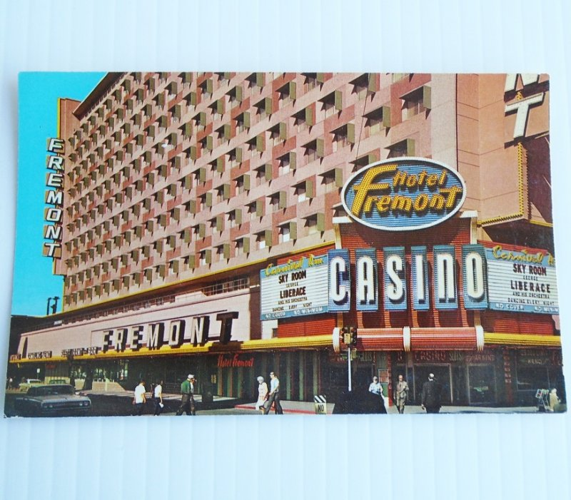 Vintage 1960s postcard of the Fremont Hotel Casino in downtown Las Vegas.