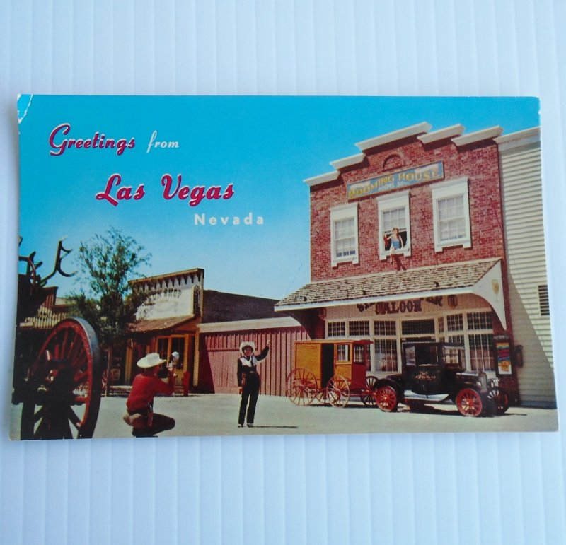 Vintage 1955 postcard of the Last Frontier Village at the New Frontier Hotel Casino in Las Vegas Nevada.