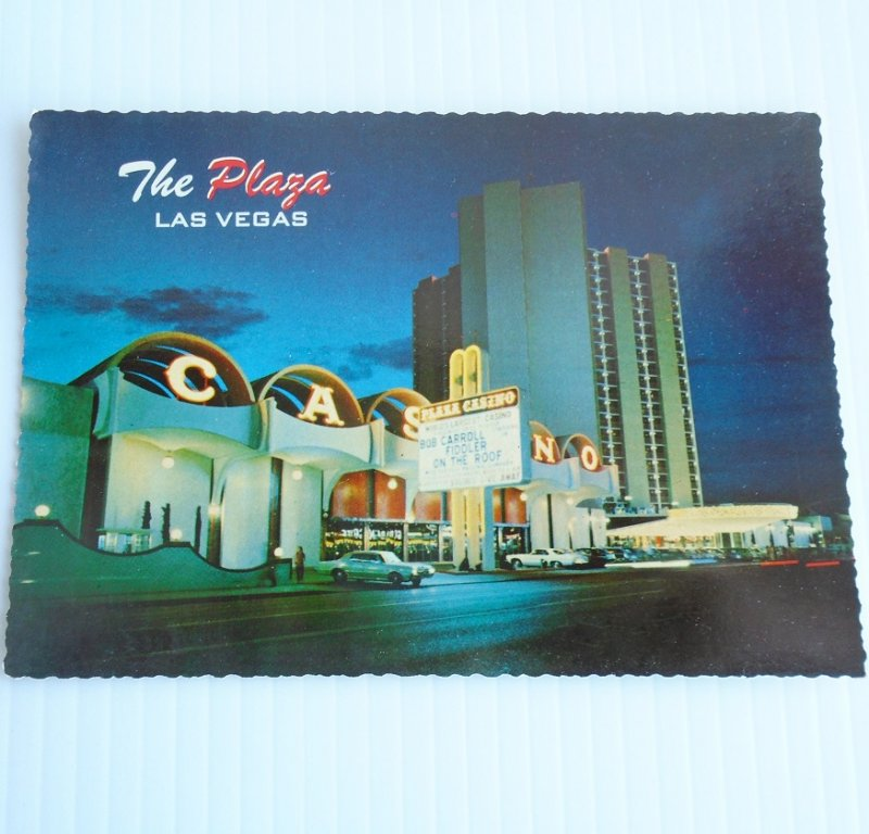 Vintage early 1970s postcard of the Union Plaza Hotel Casino in Las Vegas Nevada. The view is of the main entrance and marquee sign.