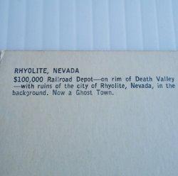'.Rhyolite NV Depot 1950s 1960s.'