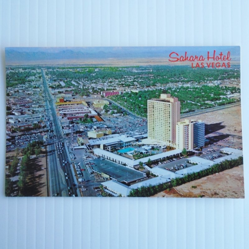 Vintage 1960s postcard with a bird's eye view of the Sahara Hotel in Las Vegas Nevada. Postally unused.
