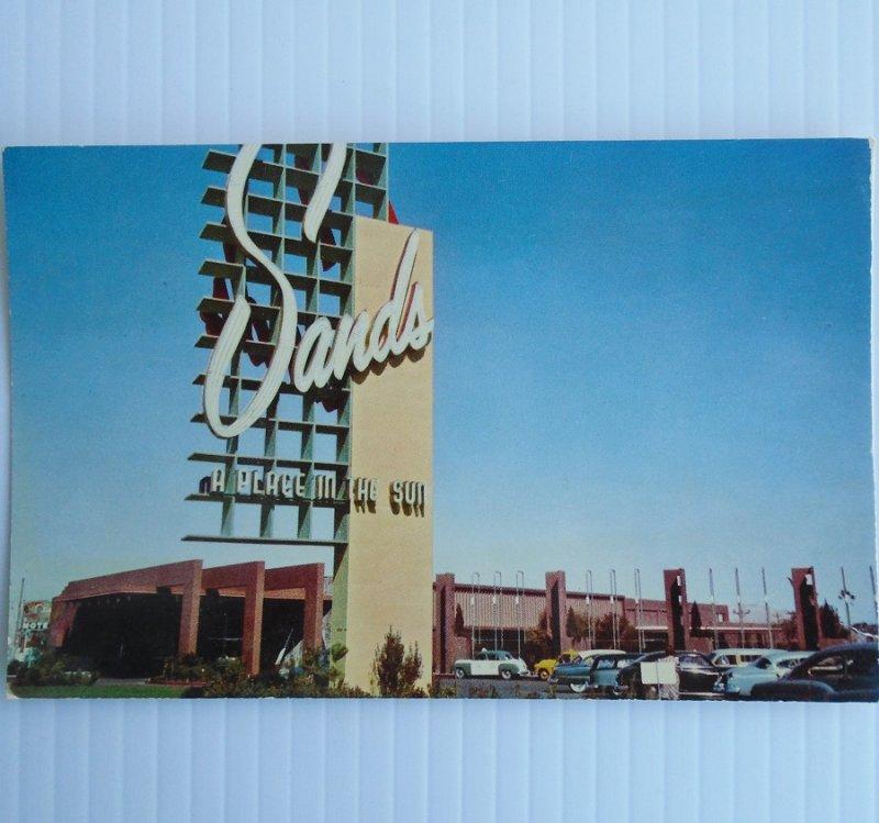 Vintage postcard Sands Hotel in Las Vegas Nevada. Card is dated 1954. Postally unused.