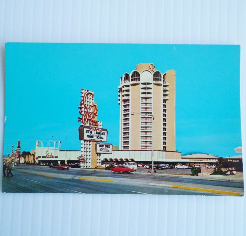 Vintage postcard of Sands Hotel in Las Vegas Nevada. Card is not dated but is believed to be late 1960s. Postally unused.