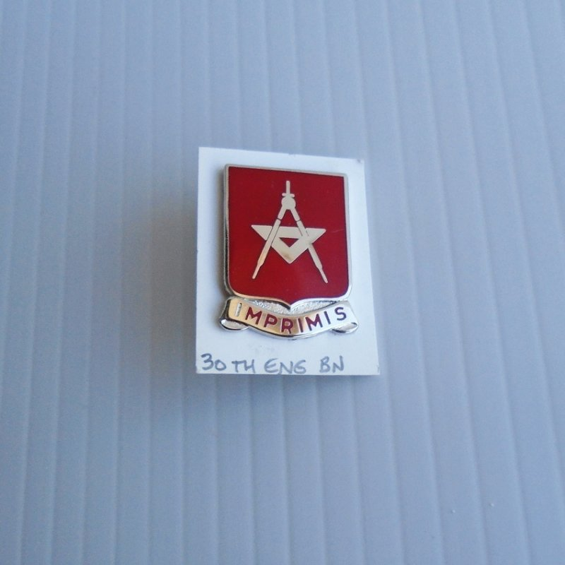 30th U.S. Army Engineer Battalion DUI Insignia Pin. Has motto of