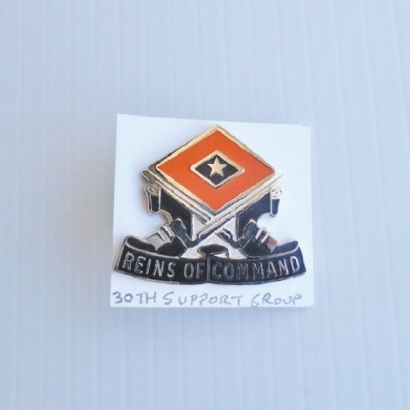 30th U.S. Army Support Group DUI Insignia Pin. Has motto of