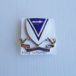 33rd US Army Infantry DUI Insignia Pin, WWII era