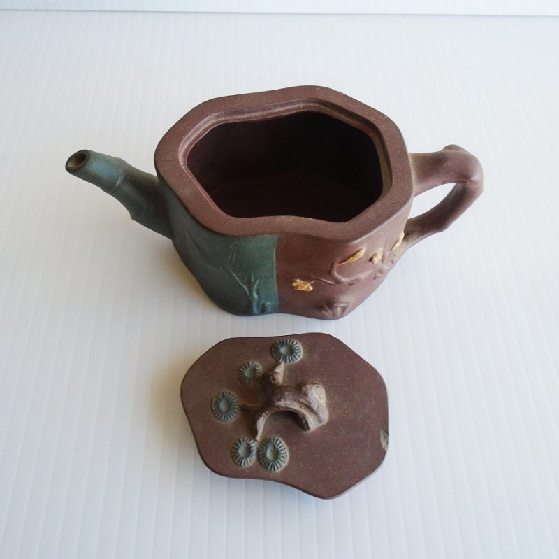 Chinese Yixing Bamboo Design Teapot, Vintage early mid 1900s.