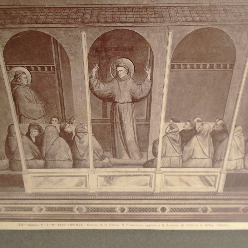 Apparition of St. Francis at Arles, fresco by Giotto, in the Bardi Chapel, Basilica of Santa Croce, Florence. Antique print.