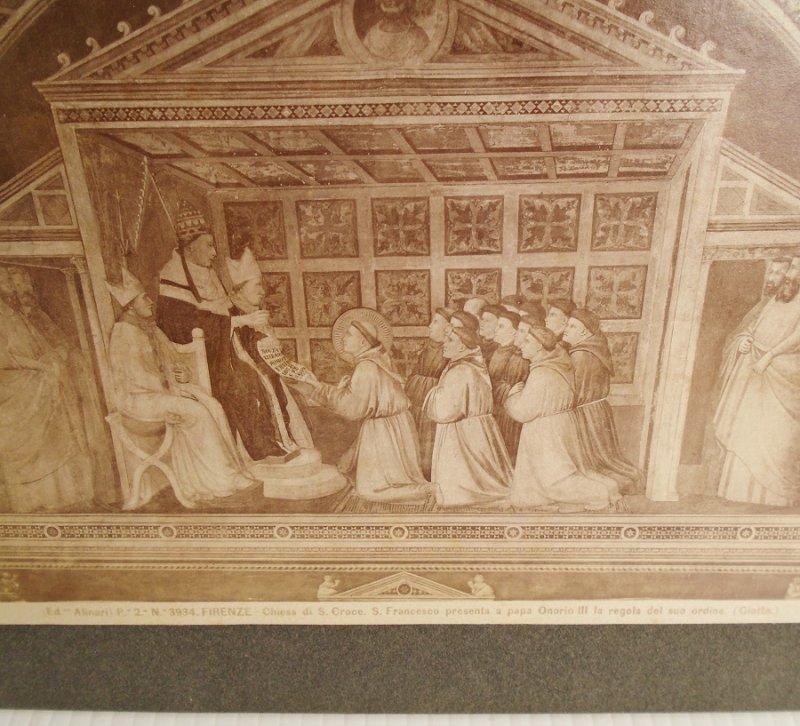 Antique Alinari Print, titled Confirmation of the Rule, part of the Stories from the Life of St/ Francis. Bardi Chapel Florence Italy.