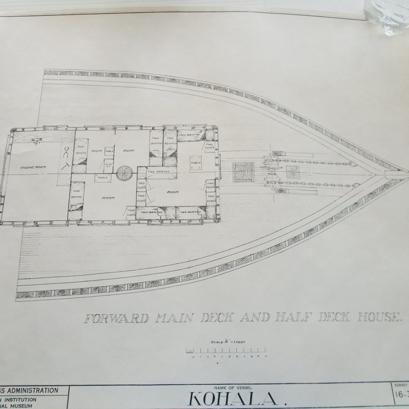 Barkentine Kohala model plans blueprints. From Smithsonian Institute Historic American Merchant Marine Survey (HAMMS). 6 double sided sheets, 12 plans