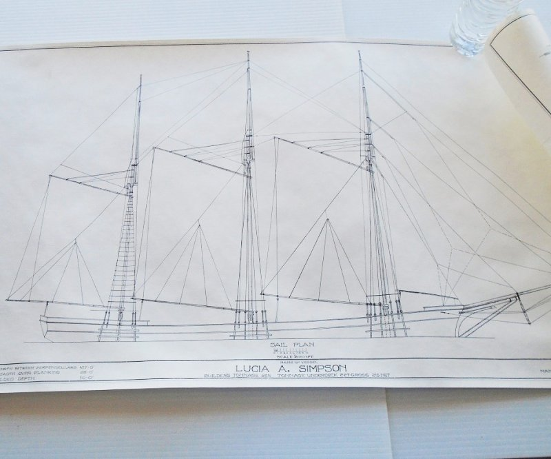 Schooner Lucia A. Simpson model plans blueprints. From Smithsonian Institute Historic American Merchant Marine Survey (HAMMS). 4 double sided sheets.