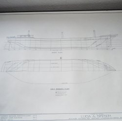 Schooner Lucia A Simpson Model Blueprints, Smithsonian HAMMS