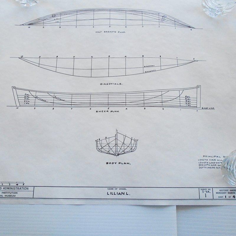 Log canoe Lillian L. model plans blueprints. From Smithsonian Institute Historic American Merchant Marine Survey (HAMMS). 4 double sided sheets.