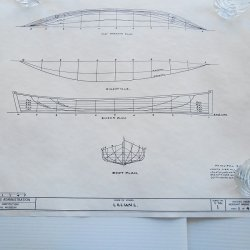 Lillian L. Log Canoe Model Blueprints, Smithsonian HAMMS