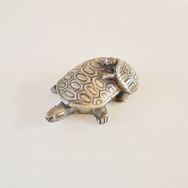 Pewter Tortoise Turtle. Mama Tortoise carrying her baby on her back. 1.75 by 2.5 inches. Solid pewter.