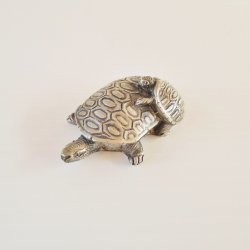 Pewter Tortoise Turtle with Baby on it's back