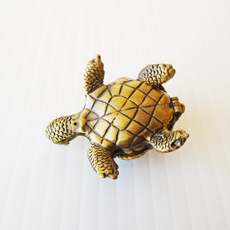 Hinged turtle trinket box with cabochon gems on shell and crystal eyes. Pewter base, enameled inside and out. Marked CR.