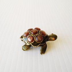 Turtle Trinket Box, Cabochon Gems, Crystal Eyes, Hinged