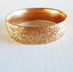 R & G Co. Antique Floral Design Clamper Bracelet