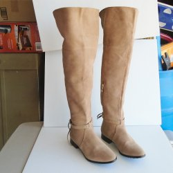 White House Black Market Tan Over the Knee Suede Boots, 9M