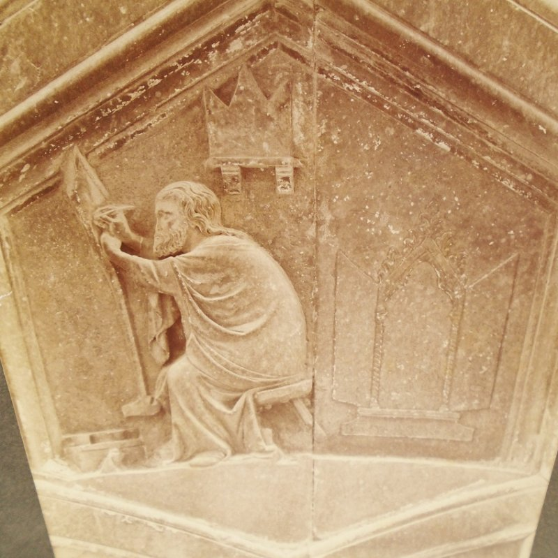 Antique Alinari Print or picture, unsure of which, estimated to be at least 100 years old. Painter, from a panel at Giotto's Bell Tower, Florence Italy.