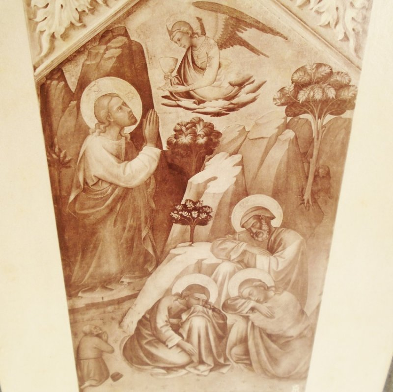 Antique Alinari Print or picture, unsure which, estimated at around 100 years old. Jesus in Olive Garden. From Giotto's Bell Tower, Florence Italy
