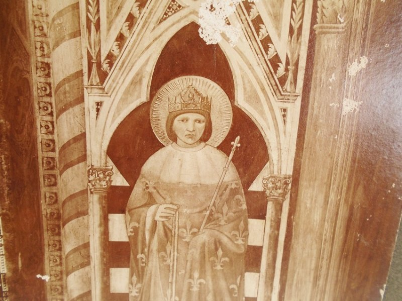 Antique Alinari Print or picture, unsure of which, of St Louis King of France, estimated at least 100 years old. From Giotto's Bell Tower, Florence Italy.